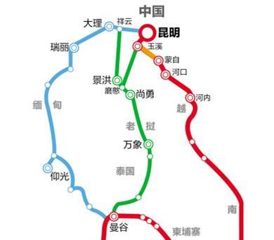 中老铁路路线图(玉溪-磨憨段先期动工)